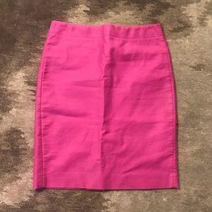 J.CREW Bright Pink Cotton No. 2 Pencil Skirt